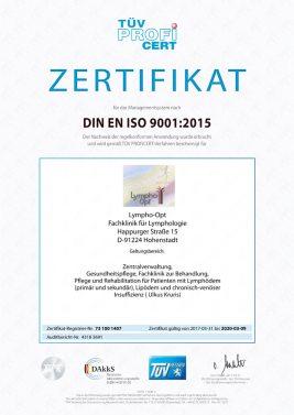 Lympho-Opt zertifiziert nach ISO 9001